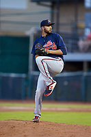 Danville Braves relief pitcher Alex Camacho (50) in action against the Pulaski Yankees at Calfee Park on June 30, 2019 in Pulaski, Virginia. The Braves defeated the Yankees 8-5 in 10 innings.  (Brian Westerholt/Four Seam Images)