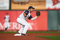 Cedar Rapids Kernels second baseman Rafael P Valera (17) waits for a throw during a game against the Kane County Cougars on August 18, 2015 at Perfect Game Field in Cedar Rapids, Iowa.  Kane County defeated Cedar Rapids 1-0.  (Mike Janes/Four Seam Images)
