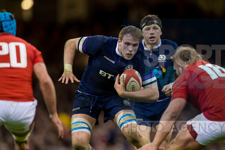 Scotlands Jonny Gray kduring the Six Nations Championship match at the Principality Stadium, Cardiff. Picture date 3rd February 2018. Picture credit should read: Craig Watson/Sportimage