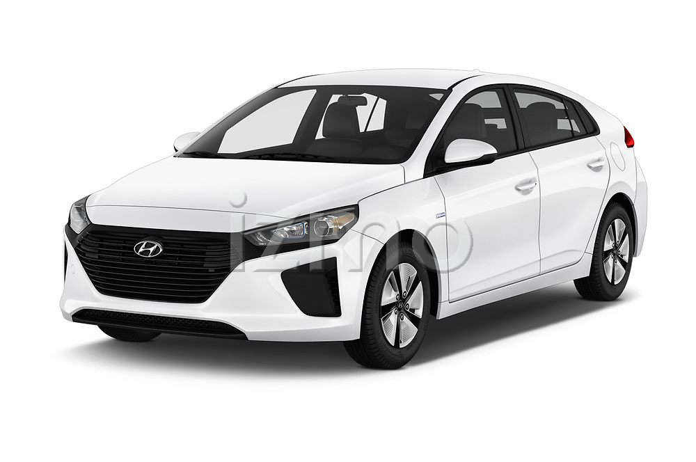 2018 Hyundai Ioniq Hybrid Blue 5 Door Hatchback angular front stock photos of front three quarter view