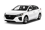 2019 Hyundai Ioniq Hybrid Blue 5 Door Hatchback angular front stock photos of front three quarter view