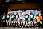 Defending champion Peter Sagan (SVK) and Bora-Hansgrohe at the team presentations in Compiegne before Paris-Roubaix 2019, Compuiegne, France. 13th April 2019<br /> Picture: ASO/Pauline Ballet | Cyclefile<br /> All photos usage must carry mandatory copyright credit (&copy; Cyclefile | ASO/Pauline Ballet)