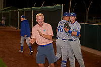 Ogden Raptors owner Dave Baggott applauds his team after they defeated the Orem Owlz at Home of the Owlz on September 11, 2017 in Orem, Utah. Ogden defeated Orem 7-3 to win the South Division Championship. (Stephen Smith/Four Seam Images)