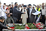 Anti-monarchy protesters and relatives accompany the coffin with the corpse of protester Abdul Redha Mohammed Hassan, 32, who was shot in the head by security forces while trying to march to Pearl Square, during the burial ceremony in the village of Malkiya, Bahrain, 22 February 2011. Anti-government protesters called for a large demonstration in Pearl Square on 22 February, which has become the rallying point for demonstrators in the country since 14 February. Bahraini protesters, who have been inspired by successful anti-regime uprisings in Tunisia and Egypt, initially called for democratic reform, but have now upped that call to nothing less than a regime change. Photo by Ammar A.rasool