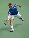 Stanislaus Wawrinka loses the first set to Borna Coric (CRO 6-3 at the Western and Southern Open in Mason, OH on August 19, 2015.