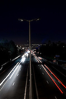 The A8 motorway by night, Cagnes sur Mer (direction Nice), France, 6 April 2010