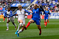 Harrison, NJ - Sunday March 04, 2018: Abby Dahlkemper, Eugénie Le Sommer during a 2018 SheBelieves Cup match match between the women's national teams of the United States (USA) and France (FRA) at Red Bull Arena.