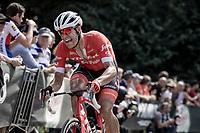 Jasper Stuyven (BEL/Trek-Segafredo) biting through the pain during his last meters up on the Kapelmuur. <br /> <br /> Binckbank Tour 2018 (UCI World Tour)<br /> Stage 7: Lac de l'eau d'heure (BE) - Geraardsbergen (BE) 212.7km