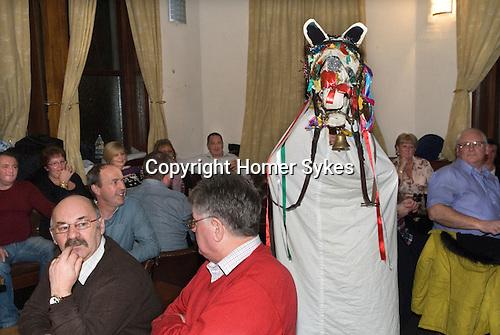 Mari Lwyd Llangynwyd near Bridgend Glamorgan bringing in the New Year December 31st 2012.<br /> <br /> The Maesteg Harlequins rugby club.