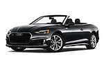Stock pictures of low aggressive front three quarter view of 2020 Audi A5-Cabriolet Premium 2 Door Convertible Low Aggressive