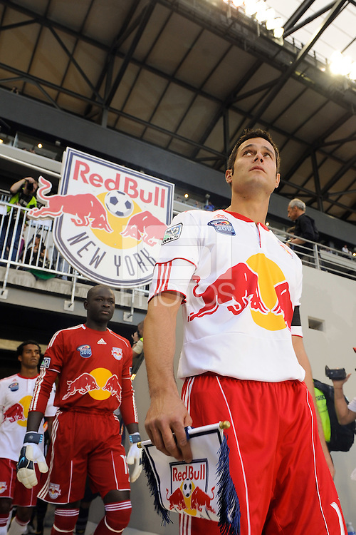 Mike Petke (12) of the New York Red Bulls leads the team onto the field prior to the start of a friendly between Santos FC and the New York Red Bulls at Red Bull Arena in Harrison, NJ, on March 20, 2010. The Red Bulls defeated Santos FC 3-1.