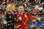 January 5th, 2008:  Rutgers head coach Greg Schiano talks to the crowd with ESPN analyst Stacey Dales after the International Bowl at the Rogers Centre in Toronto, Ontario Canada...Rutgers defeated Ball State 52-30.  ..Photo By:  Mike Janes Photography
