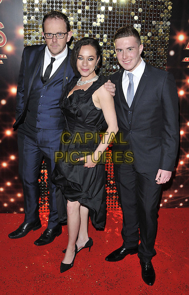 LONDON, ENGLAND - MAY 24: Liam Fox, Alicya Eyo &amp; Luke Roskell attend the British Soap Awards 2014, Hackney Empire, Mare St., on Saturday May 24, 2014 in London, England, UK.<br /> CAP/CAN<br /> &copy;Can Nguyen/Capital Pictures
