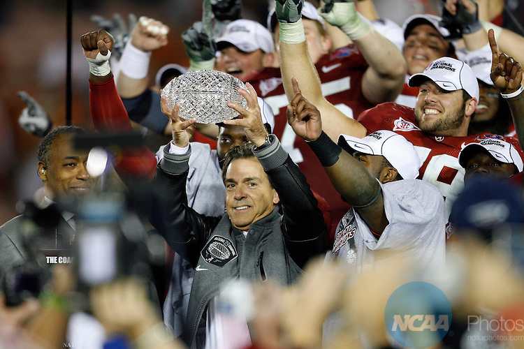 07 JAN 2010:  Head Coach Nick Saban of the University of Alabama celebrates the Crimson Tides' victory over the University of Texas during the BCS National Championship held at the Rose Bowl in Pasadena, CA.  Alabama defeated Texas 37-21 for the national title. Jamie Schwaberow/NCAA Photos