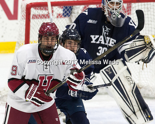 Luke Esposito (Harvard - 9), Adam Larkin (Yale - 2) - The Harvard University Crimson tied the visiting Yale University Bulldogs 1-1 on Saturday, January 21, 2017, at the Bright-Landry Hockey Center in Boston, Massachusetts.