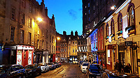Pictured: Nightime view of West Bow in Edinburgh.<br /> Re: Edinburgh, Scotland, UK. 06 April 2018