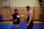 BERLIN 12.2016. Comandante Rambo and Toni Tiger Harting<br /> <br /> German Wrestler RAMBO MICHEL BRAUN alias EL COMANDANTE RAMBO during training at GWF Wrestling School in Berlin Neukölln.<br /><br />Other trainers are: Crazy Sexy mike (Hussein Chaer, man with headband) and Ahmed Chaer (man with beard) (Photo by Gregor Zielke)