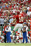31 October 2004: Trent Green gets airborne while throwing a pass. The Kansas City Chiefs defeated the Indianapolis Colts 45-35 at Arrowhead Stadium in Kansas City, MO in a regular season National Football League game..