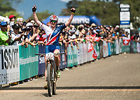 Picture by Alex Broadway/SWpix.com - 09/09/17 - Cycling - UCI 2017 Mountain Bike World Championships - XCO - Cairns, Australia - Annie Last of Great Britain celebrates after winning Silver in the Women's Elite XCO Final.