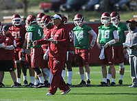 NWA Democrat-Gazette/ANDY SHUPE<br /> Arkansas offensive coordinator Dan Enos directs his players Tuesday, March 28, 2017, during spring practice at the UA practice facility in Fayetteville.