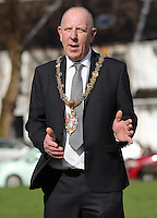 Lord Mayor for Swansea David Hopkins gives a speech before raising a Wales flag in the shape of a red lobster instead of a red dragon outside the Guildhall, to raise awareness for Skin Care Cymru, in Swansea, Wales, UK. Tuesday 28 February 2017