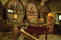 Chateau Etang des Colombes Lezignan Corbieres. Les Corbieres. Languedoc. Barrel cellar. Wooden fermentation and storage tanks. France. Europe.