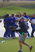 Alex Noren (Team Europe) celebrates with Thorbjorn Olesen, Tyrrell Hatton, Francesco Molinari and Ian Poulter (Team Europe) after winning his match on the 18th green during the Sunday Singles of the Ryder Cup, Le Golf National, Ile-de-France, France. 30/09/2018.<br /> Picture Thos Caffrey / Golffile.ie<br /> <br /> All photo usage must carry mandatory copyright credit (© Golffile | Thos Caffrey)
