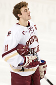 Chris Calnan (BC - 11) - The visiting Merrimack College Warriors defeated the Boston College Eagles 6 - 3 (EN) on Friday, February 10, 2017, at Kelley Rink in Conte Forum in Chestnut Hill, Massachusetts.