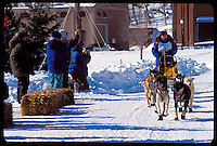 SPECTATORS WATCH AS A MUSHER AND TEAM FINISH THE U.P. 200 SLED DOG RACE IN MARQUETTE MICHIGAN.