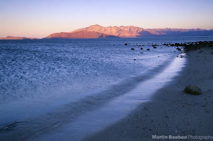 Evening alpenglow and shoreline, Bahia de los Angeles, Baja California, Mexico