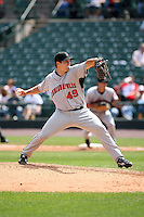 August 11th 2008:  Pitcher Dan McCutchen (49) of the Indianapolis Indians, Class-AAA affiliate of the Pittsburgh Pirates, during a game at Frontier Field in Rochester, NY.  Photo by:  Mike Janes/Four Seam Images