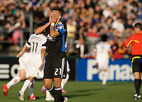 Jason Hernandez of Earthquakes reacts after Real Salt Lake's Fabian Espindola scored a goal during the game at Buck Shaw Stadium in Santa Clara, California on March 27th, 2010.   Real Salt Lake defeated San Jose Earthquakes, 3-0.