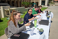 Six teams (mix of staff and students) battle to create the best vegetarian or vegan starter and sauté dishes. A wide variety of fresh organic produce (some freshly picked at the FEAST garden), legumes, FEAST eggs, spices, oils and one secret ingredient are at the team's disposal. Diep Tran, owner of Good Girl Dinette in our local Highland Park, is this year's guest judge.<br /> The contest is led by FEAST and supported by Campus Dining, Facilities Management, The Office of the President, and Administrator Staff Council. Thursday, April 12, 2018 in the JSC Quad.<br /> (Photo by Marc Campos, Occidental College Photographer)