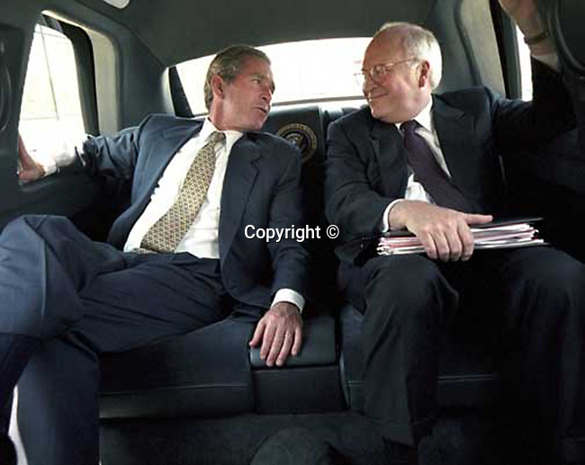 President George W. Bush and Vice President Dick Cheney in the White House limousine,