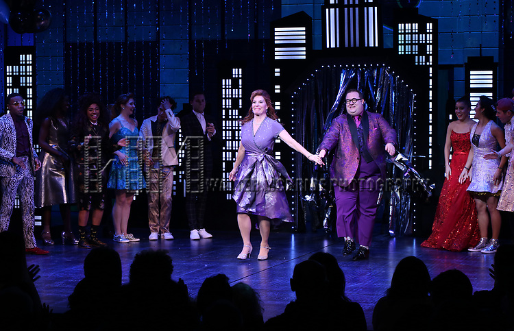 """Courtenay Collins and Josh Lamon during the Broadway Opening Night Curtain Call of """"The Prom"""" at The Longacre Theatre on November 15, 2018 in New York City."""