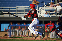 Batavia Muckdogs left fielder Kris Goodman (8) at bat during a game against the State College Spikes on June 23, 2016 at Dwyer Stadium in Batavia, New York.  State College defeated Batavia 8-4.  (Mike Janes/Four Seam Images)
