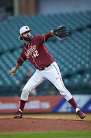 Florida State Seminoles relief pitcher Jim Voyles (42) in action against the Notre Dame Fighting Irish in Game Four of the 2017 ACC Baseball Championship at Louisville Slugger Field on May 24, 2017 in Louisville, Kentucky. The Seminoles walked-off the Fighting Irish 5-3 in 12 innings. (Brian Westerholt/Four Seam Images)