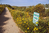 Sensitive Habitat sign in Ballona Wetlands, Playa Vista, Los Angeles, California, USA
