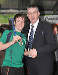 Con Doherty recieving congratulations from Michael Rabbette Principal Rice College...Pic Conor McKeown