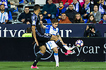 Alexander Szymanowski of Club Deportivo Leganes competes for the ball with Danilo Luiz da Silva of Real Madrid during the match of  La Liga between Club Deportivo Leganes and Real Madrid at Butarque Stadium  in Leganes, Spain. April 05, 2017. (ALTERPHOTOS / Rodrigo Jimenez)
