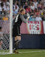 USA goalkeeper Brad Guzan (18) tries to get the attention of teammates in the wall. In the Send Off Series, the Czech Republic defeated the US men's national team, 4-2, at Rentschler Field in East Hartford, Connecticut, on May 25, 2010.