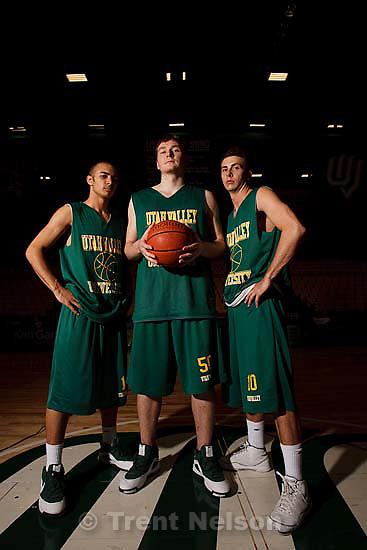 Orem - Utah Valley University basketball coach Dick Hunsaker with his team's three senior players, Josh Olsen, Brett Ravenberg and Ryan Toolson Wednesday February 25, 2009.