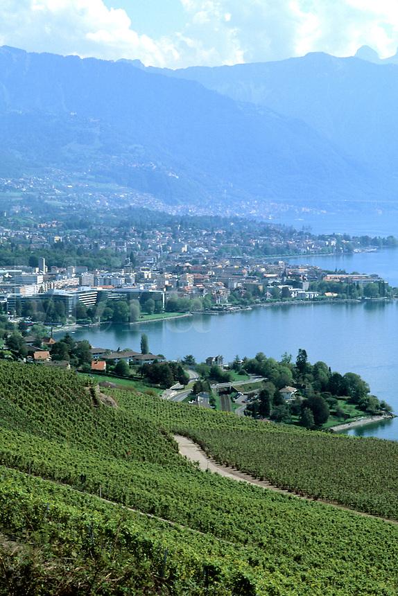 Switzerland Aerial view of beautiful port town of Montreux on Lake Geneva Switzerland