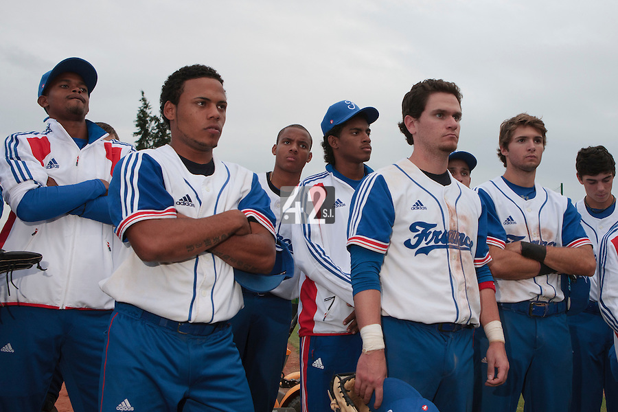 18 August 2010: Luis de la Rosa, Gary Garcia Martinez, Andy Paz, Jorge Hereaud, David Van Heyningen, Jonathan Dechelle are seen after  the France 7-3 win over Ukraine, at the 2010 European Championship, under 21, in Brno, Czech Republic.