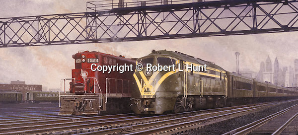 "Jersey Central diesel locomotives side by side in yard just outside New York City. Oil on canvas, 14 x 30""."