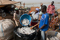 fisherman using home made  ice for fish conservation