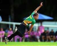 Stags bowler Doug Bracewell. HRV Cup Twenty20 cricket - Central Stags v Northern Knights at Pukekura Park, New Plymouth, New Zealand on Thursday, 23 December 2010. Photo: Dave Lintott / lintottphoto.co.nz