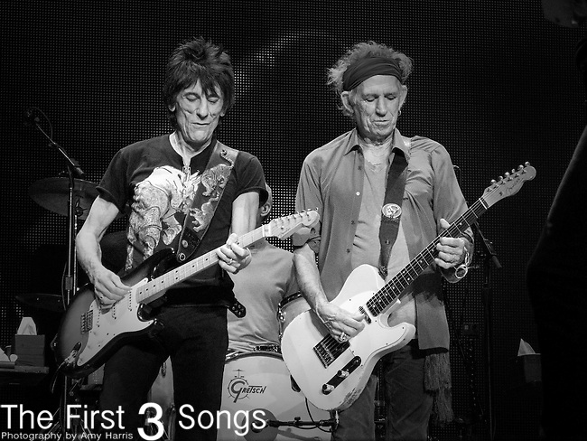 Ronnie Wood and Keith Richards of The Rolling Stones perform at TD Garden in Boston, Massachusetts.