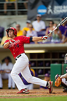 Stony Brook Seawolves outfielder Sal Intagliata #14 flies out during the continuation of their suspended NCAA Super Regional baseball game against LSU on June 9, 2012 at Alex Box Stadium in Baton Rouge, Louisiana. LSU defeated Stony Brook 5-4 in 12 innings. (Andrew Woolley/Four Seam Images)