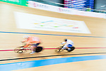 Kirsten Wild of Netherlands and Lotte Kopecky of Belgium compete in the Women's Points Race 25 km Final during the 2017 UCI Track Cycling World Championships on 16 April 2017, in Hong Kong Velodrome, Hong Kong, China. Photo by Marcio Rodrigo Machado / Power Sport Images